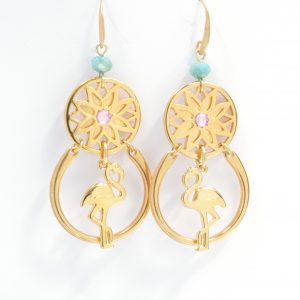 earrings, flamingo's motif, gold plated