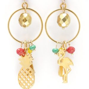 earrings, gold plated, pneaple, flaming, colorful,