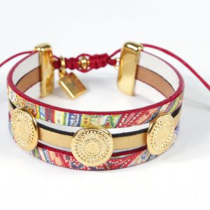 laether bracelet, colorful, plated metals, macramé
